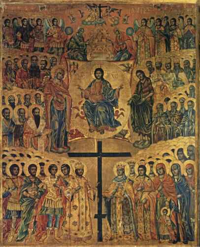 Οι άγιοι νεομάρτυρες Νικόλαος, Σταμάτιος και Ιωάννης εκ Σπετσών που μαρτύρησαν το 1822 στη Χίο.