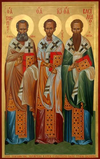 Οι Άγιοι Τρεις Ιεράρχες, Βασίλειος ο Μέγας, Γρηγόριος ο Θεολόγος και  Ιωάννης ο Χρυσόστομος. - Askitikon