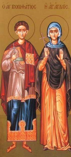 Οι Άγιοι Βονιφάτιος και Αγλαΐα η Ρωμαία εορτάζουν στις 19 Δεκεμβρίου. ε.ε.