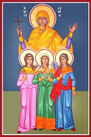 Αγία Σοφία και οι τρεις θυγατέρες της Πίστη, Ελπίδα και Αγάπη. 17 Σεπτεμβρίου ε.ε.