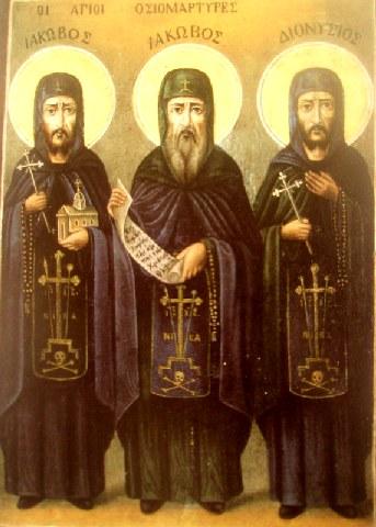 Άγιοι Ιάκωβος ο νέος Οσιομάρτυρας από την Καστοριά και οι δύο μαθητές του. 1 Νοεμβρίου ε.ε.
