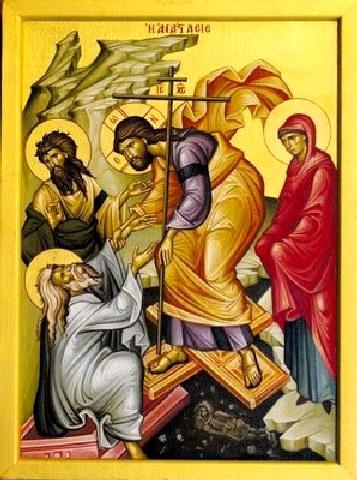 Ανέστη Χριστὸς ἐκ νεκρῶν, λύσας θανάτου τα δεσμά, ευαγγελίζου γη χαράν μεγάλη.