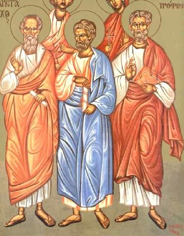 Αποτέλεσμα εικόνας για Άγιοι Αρίσταρχος, Πούδης και Τρόφιμος Απόστολοι από τους εβδομήντα
