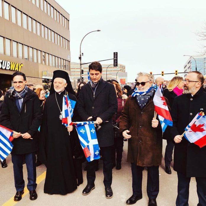 Παρέλαση στο Montreal Canada από ομογενείς την 25η Μαρτίου 2019